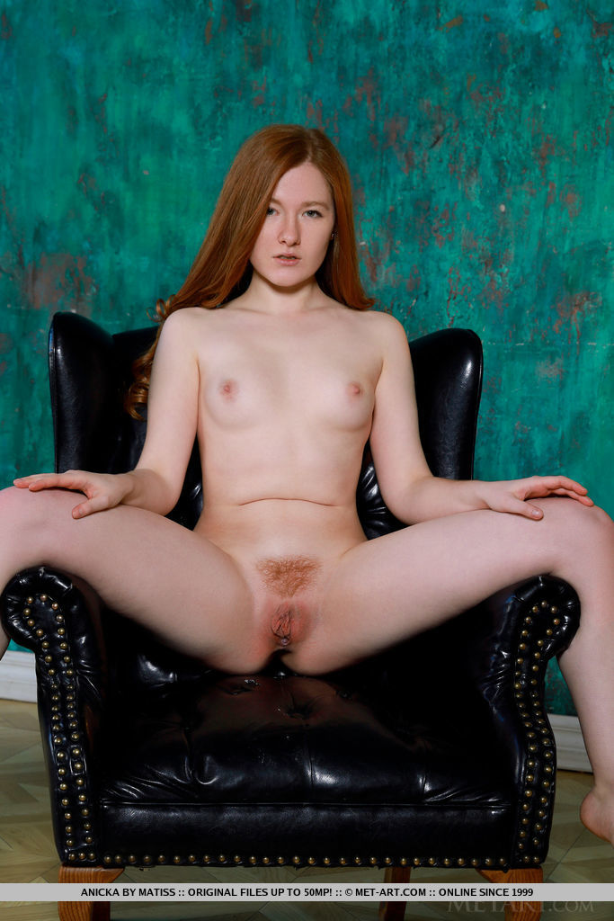 This damsel has small breasts and Red hair, Green eye
