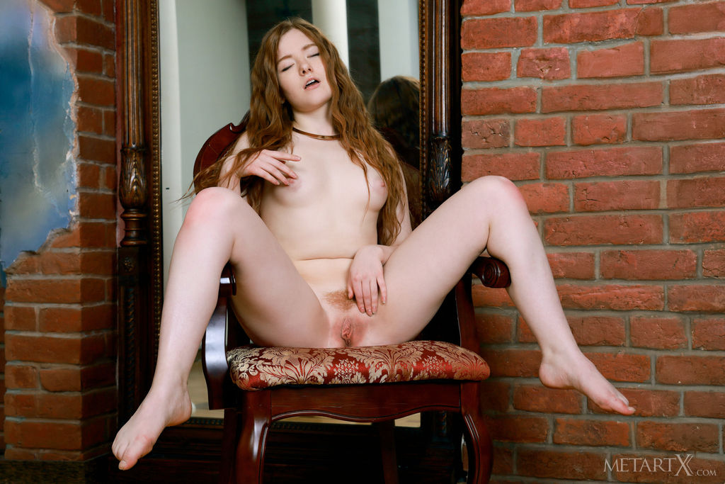 This girl has romantic small naturaltitties and Red hair, Green eye