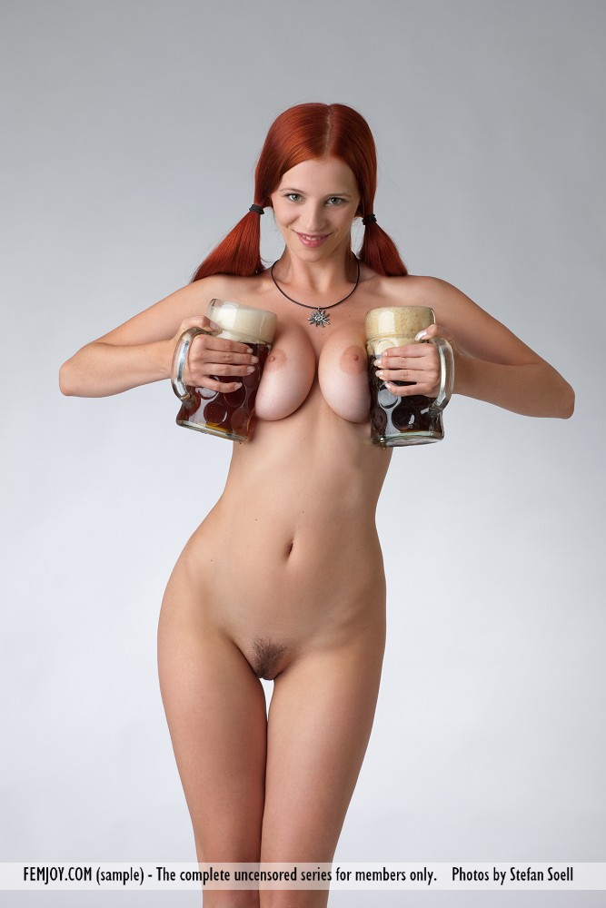 This young lady has big titties and Red hair, Green eye