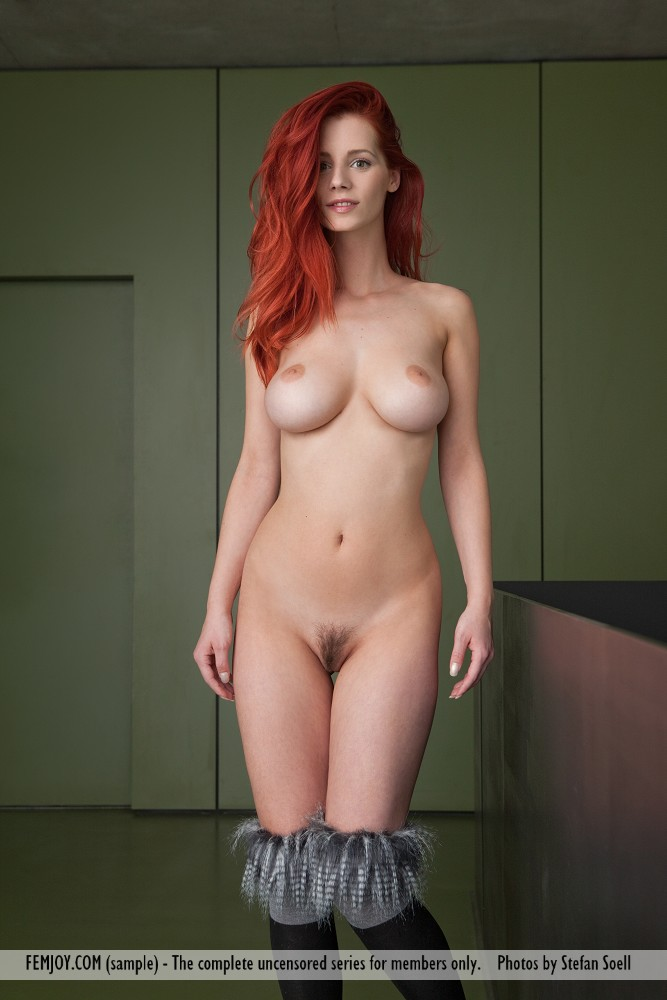 This damsel has concupiscent large breasts and Red hair