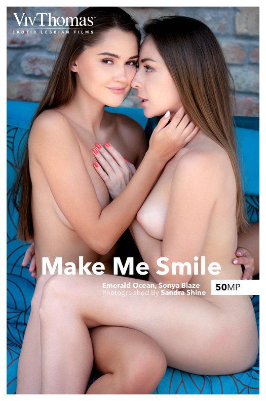 On the cover of Make Me Smile Viv Thomas is uplifting Emerald Ocean, Sonya Blaze