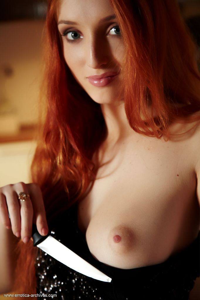 This woman has moving small tits and Red hair, Blue eye