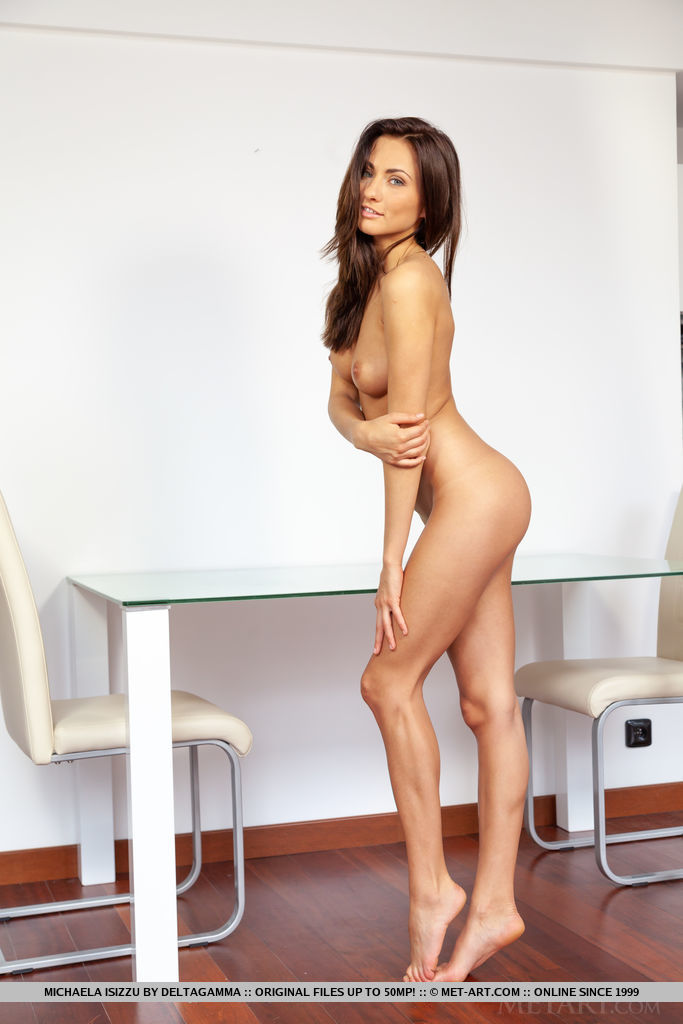 This lady has in birthday suit medium natural breasts and Brown hair