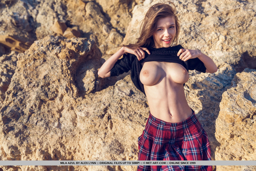 Mila Azul in carnal photo sessions