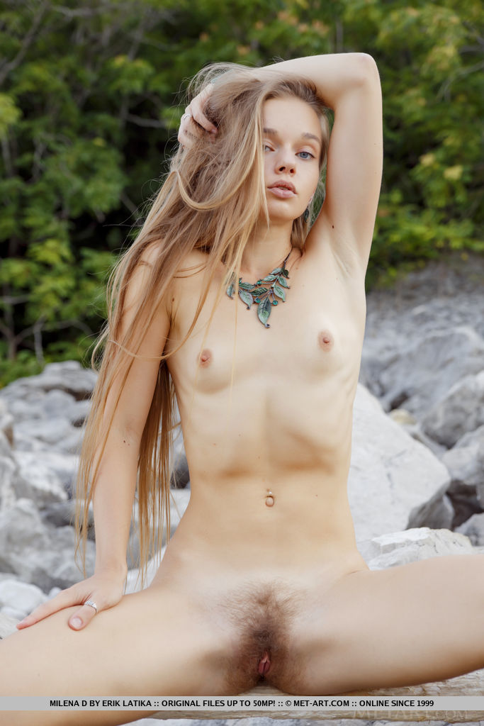 This girl has marvelous small boobs and Blonde hair