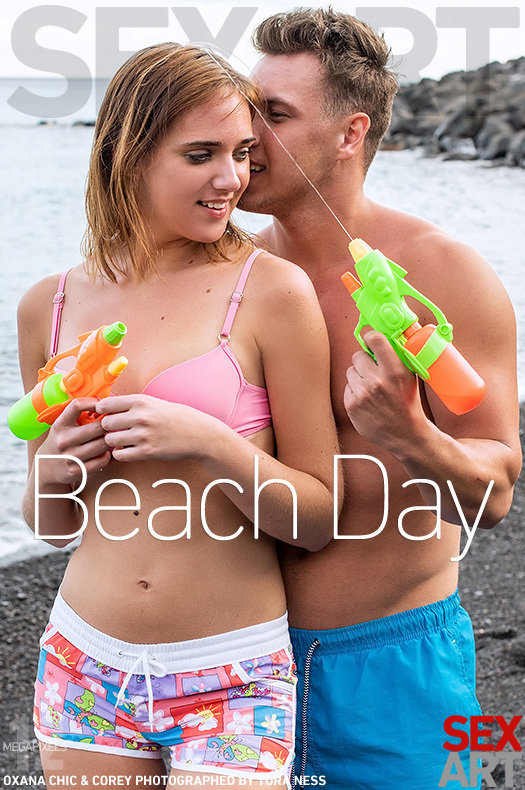 On the magazine cover of Beach Day SexArt is fascinating Oxana Chic