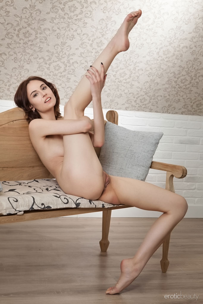 This damsel has sexual small tits and Brown hair