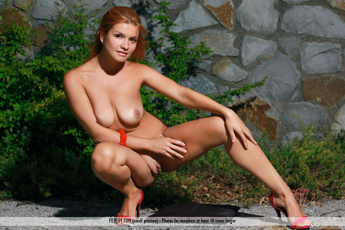 This girl has astonishing big breasts and Red hair, Brown eye