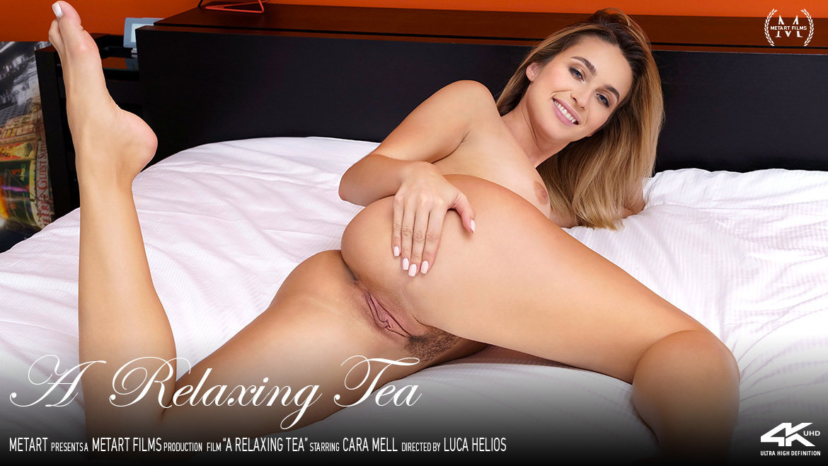 1080p Video A Relaxing Tea - Cara Mell MetArt stupefying alluring salacious medium natural titties