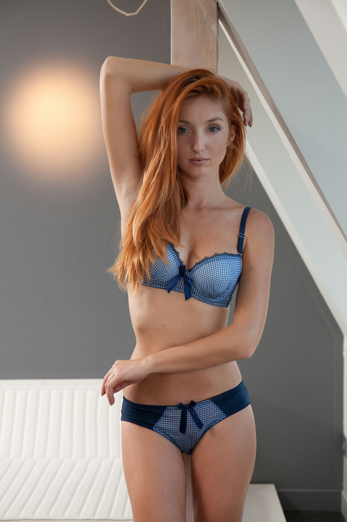 subtle blue and white checkered lingerie