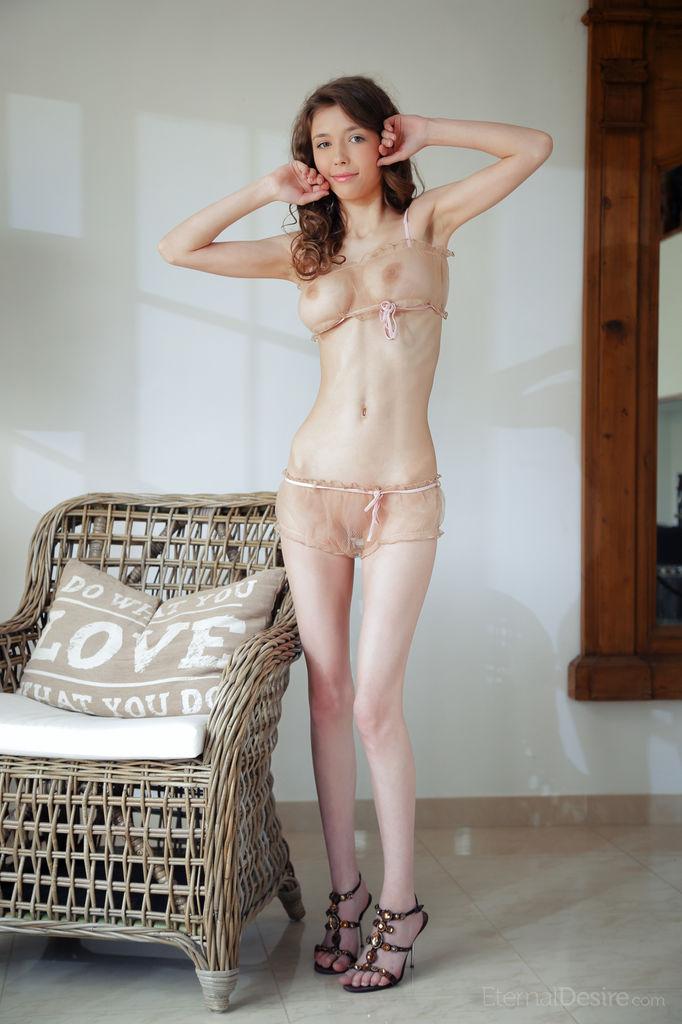 mila azul dressed in translucent nude color lingerine