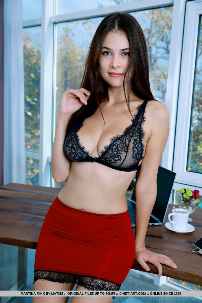 modestly dressed martina mink in a red mini skirt and half transparent bra