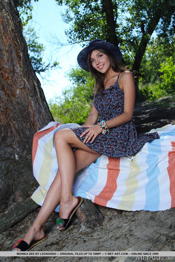 Beautiful Monika Dee in a picnic dress is sitting near a tree