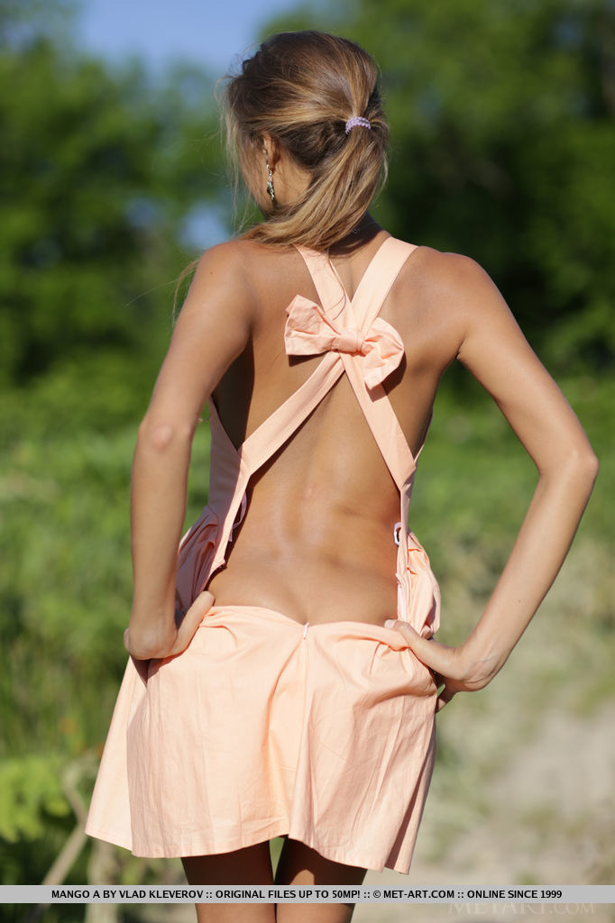 beautiful slender country girl in a dress with a bow on her back stands with her back and tempts with her body