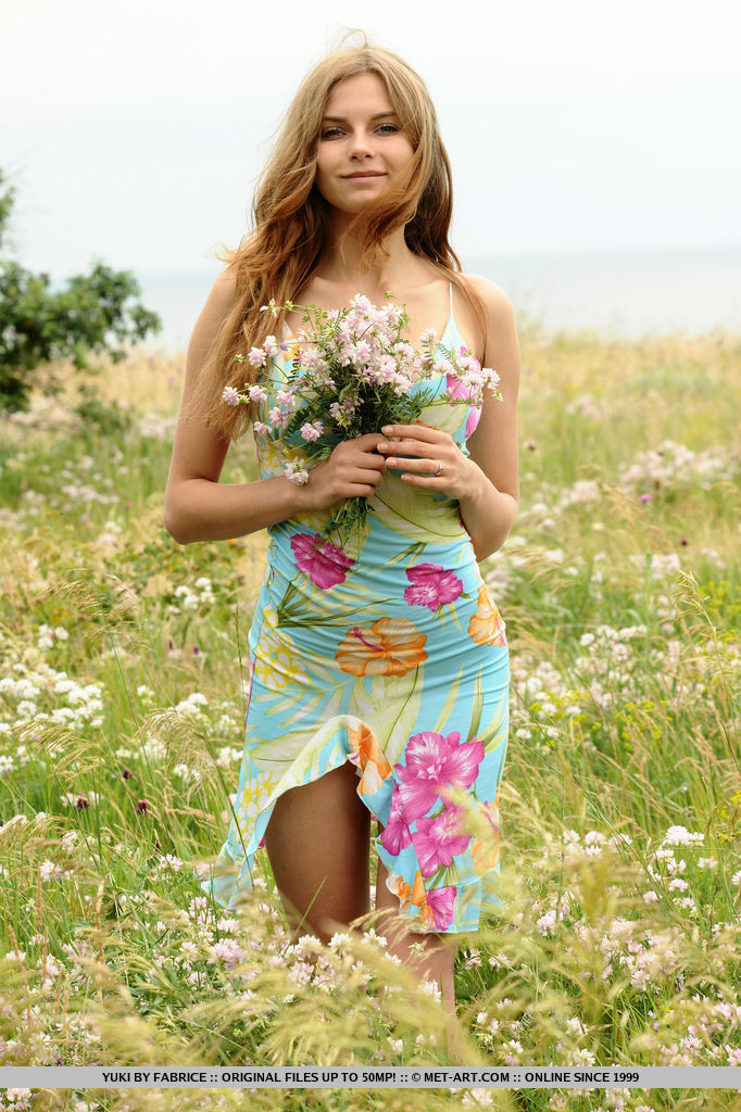 beautiful slim woman in a colorful dress in the meadow