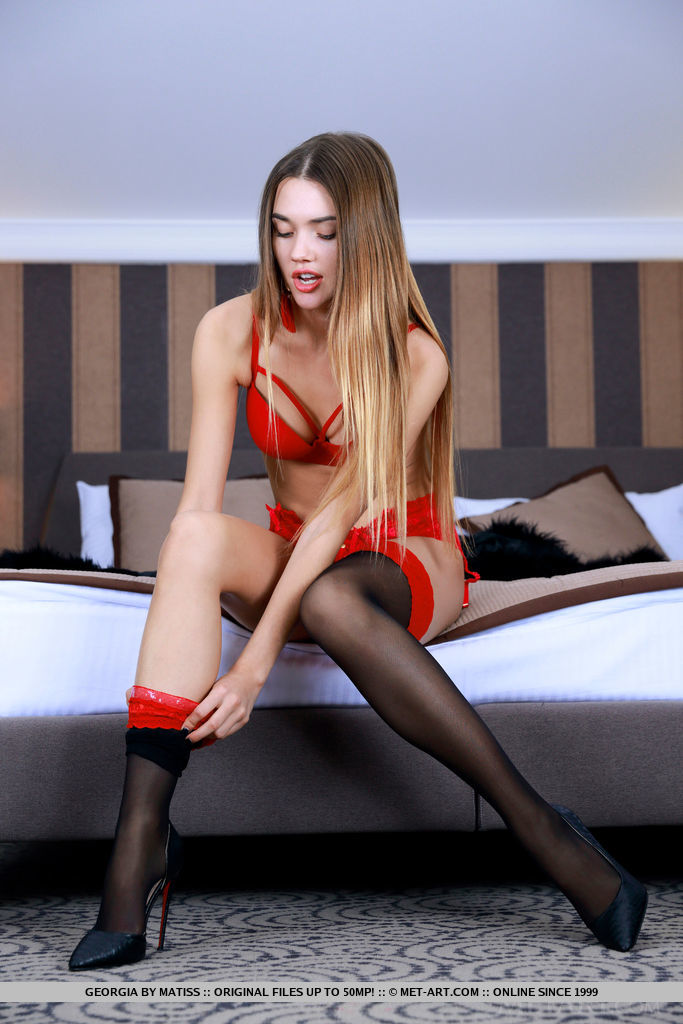 Georgia in sexy red lingerie and high heels like my penis