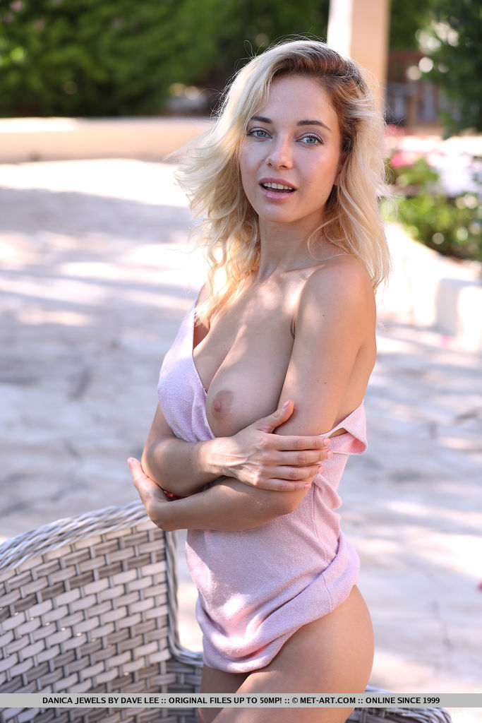 Danica Jewels is a blonde with a visible tit